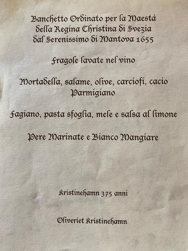 Oliveriets meny för bankett i Drottning Kristinas ära vid Kristinehamns 375-årsjubileum.